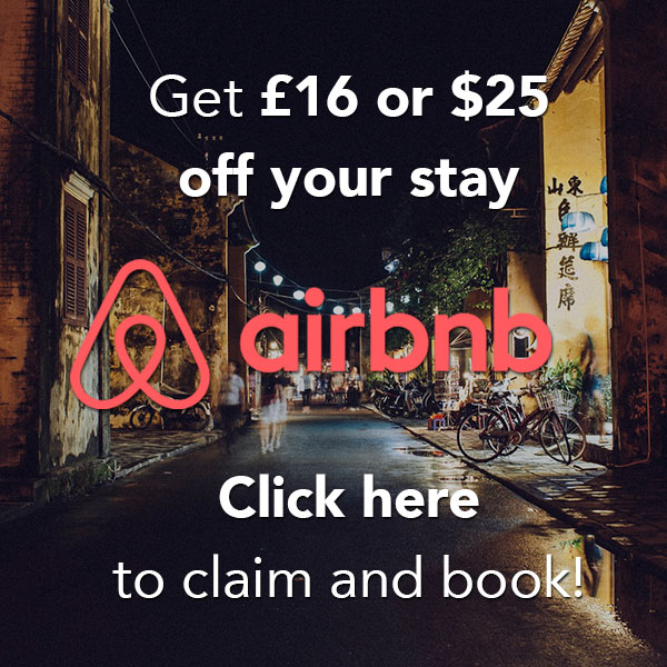 Get £16 off your first airbnb booking!